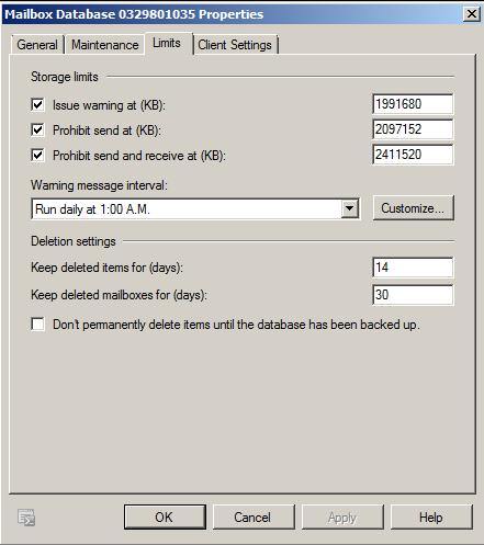 Exchange Datenbank-Eigenschaften - Speichergrösse Mailbox einstellen