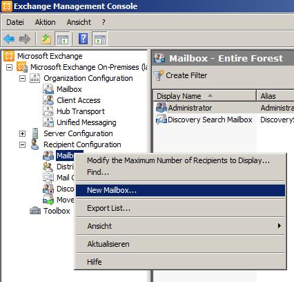 Exchange 2010 Mailbox erstellen