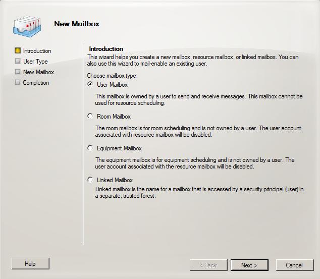 Exchange 2010 Mailbox-Typen