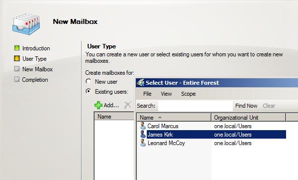 Exchange 2010 - Mailbox erstellen