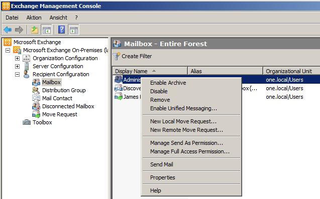 New Local Move Request / New Remote Move Request - Exchange 2010