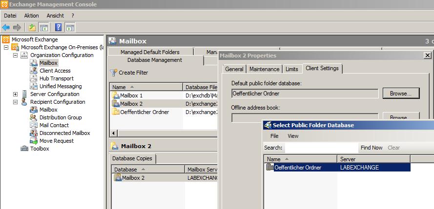 Exchange 2010 - Datenbank-Eigenschaften