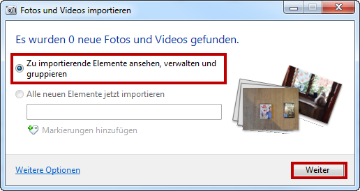 Fotos mit Windows Fotogalerie einlesen
