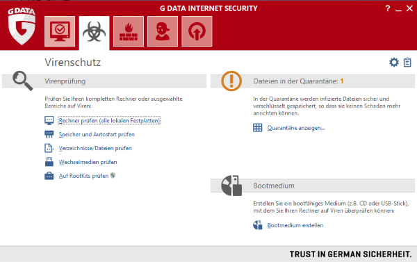 G DATA Internet Security 2015 Benutzeroberfläche - Kinderschutz