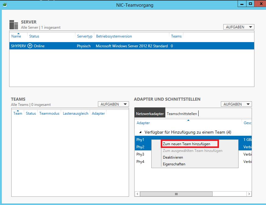 NIC Teaming unter Windows Server 2012 für Hyper-V einrichten