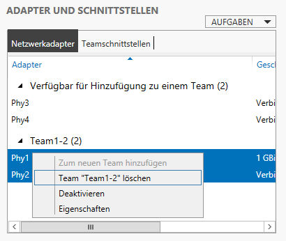 NIC Teaming unter Windows Server 2012 für Hyper-V einrichten