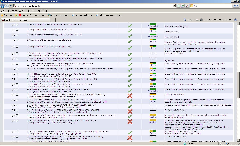 Screenshot HijackThis