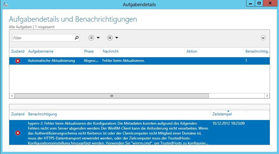 Windows Server 2012 Server-Manager - Error