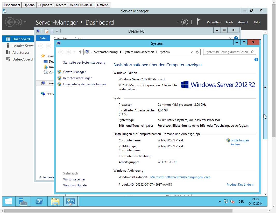 SinaVPS mit fertig installiertem Windows 2012