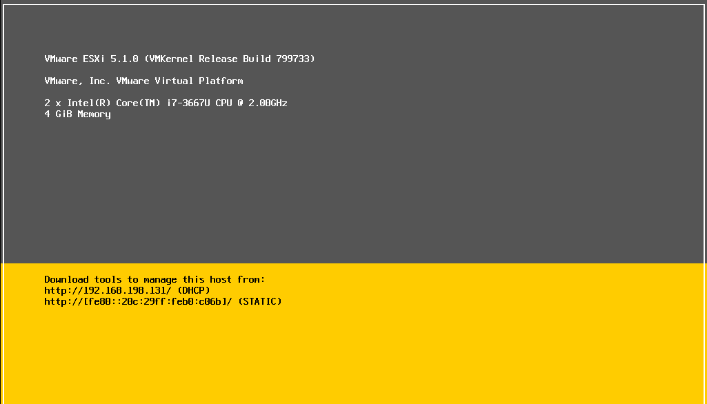ESXi Welcome Screen