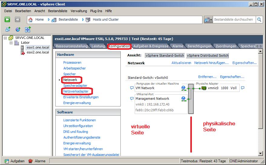Netzwerkeinstellungen VMware vSphere