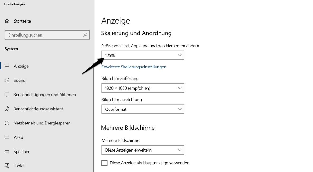 skalierung windows 10 anzeige