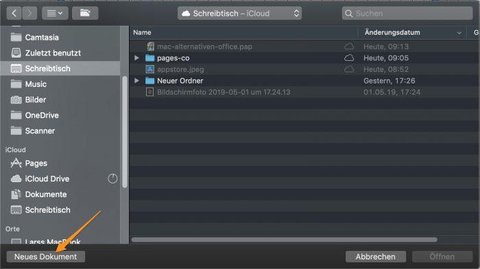 Apple Pages Datei öffnen