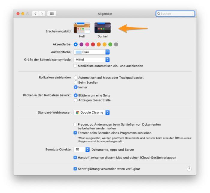 Hell oder Dunkel - macOS Systemeinstellungen - Allgemein