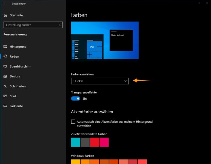 Dunkel auswählen bei Windows 10
