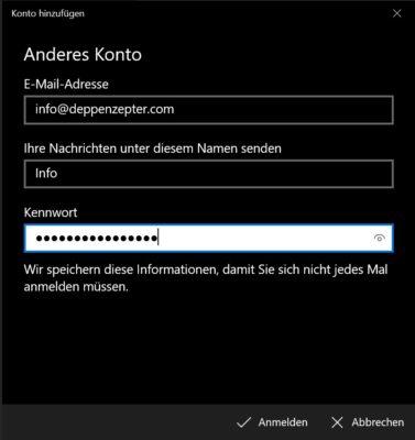 E-Mail-Einstellungen angeben