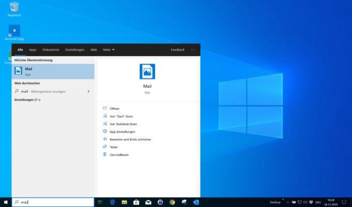 Windows 10 Mail App aufrufen