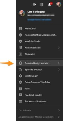 Dunkles Design in YouTube aktivieren