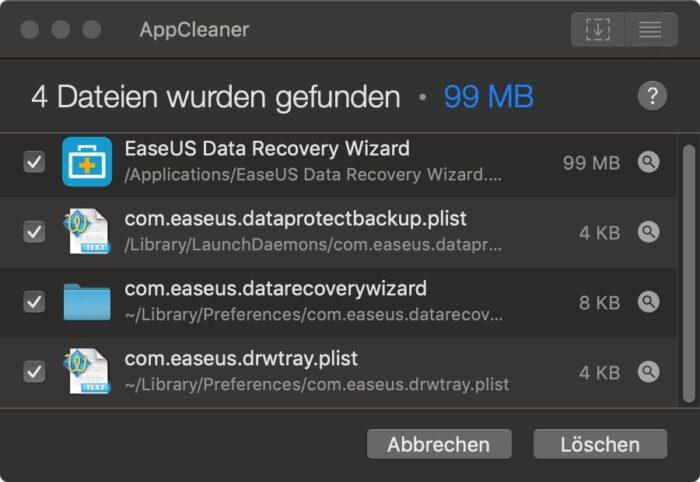 AppCleaner mit zu Software gefundenen Dateien