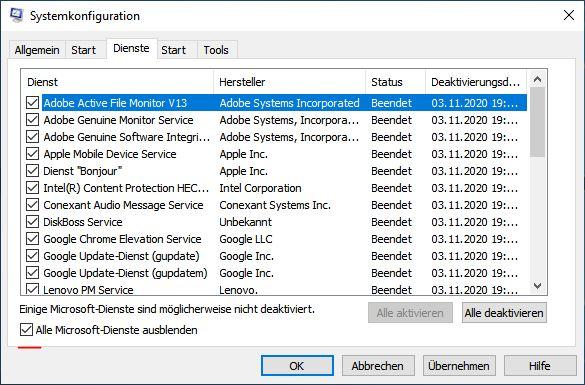 systemkonfiguration-dienste