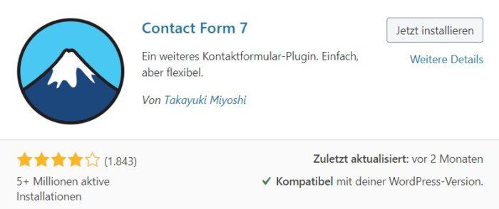 plugin contact form 7 installieren