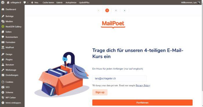 mailpoet konfigurieren